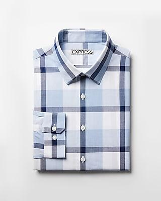 Express Mens Extra Slim Fit Plaid Dress Shirt