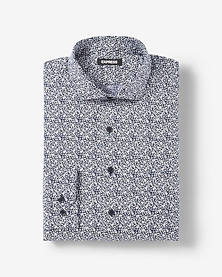 Express Mens Extra Slim Fit Floral Pattern Cotton Dress Shirt