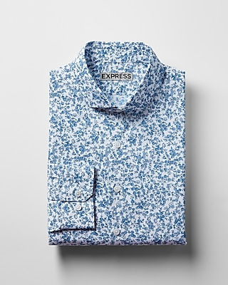 Express Mens Extra Slim Fit Print Cotton Dress Shirt