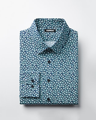 Express Mens Slim Cotton Floral Dress Shirt