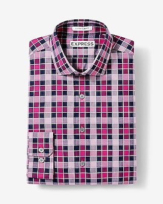 Express Mens Slim Fit Small Check Dress Shirt