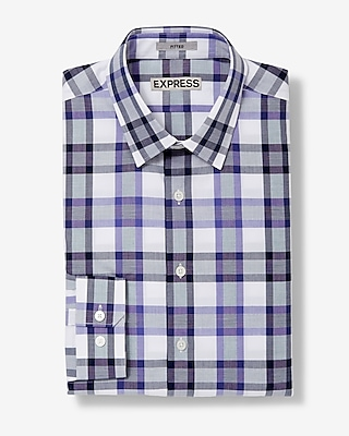 Express Mens Fitted Plaid Long Sleeve Button Shirt Purple Small