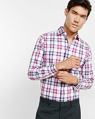 Express Mens Fitted Plaid Long Sleeve Button Shirt