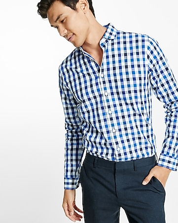 slim fit small check dress shirt