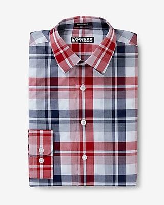 Express Mens Modern Fit Plaid Dress Shirt Red Small