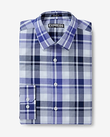 modern fit plaid dress shirt