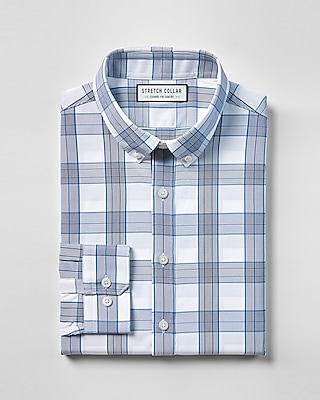Express Mens Slim Fit Stretch Collar Plaid Performance Dress Shirt