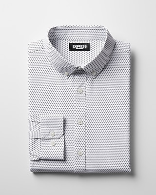 Express Mens Slim Small Dot Performance Dress Shirt