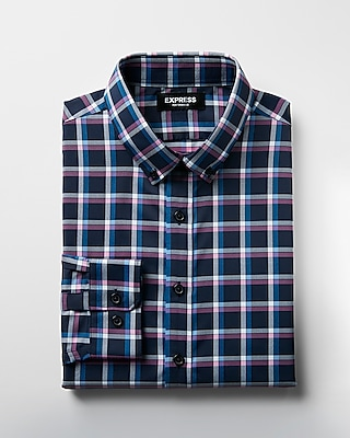 Express Mens Slim Plaid Button-Down Performance Dress Shirt