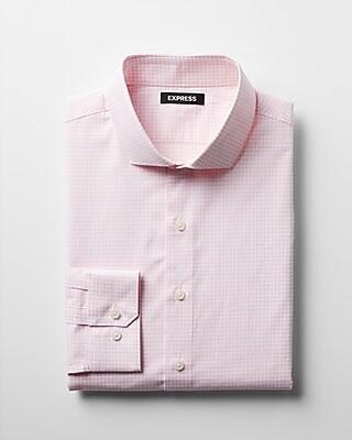 Express Mens Slim Check Pattern Spread Collar Cotton Dress Shirt