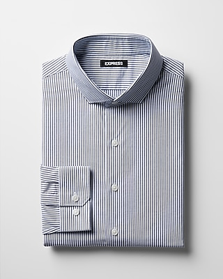 Express Mens Slim Striped Spread Collar Dress Shirt