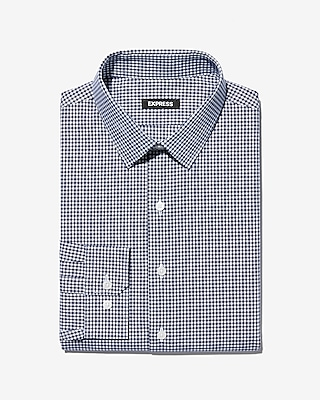 Express Mens Slim Check Print Point Collar Dress Shirt
