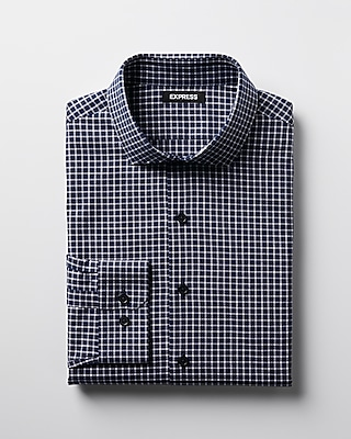 Express Mens Extra Slim Check Spread Collar Dress Shirt