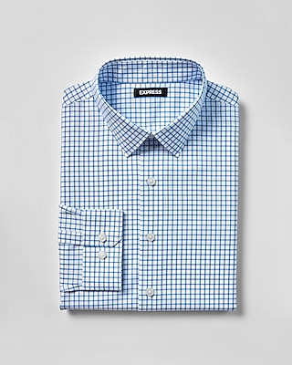 Express Mens Extra Slim Check Print Cotton Point Collar Dress Shirt