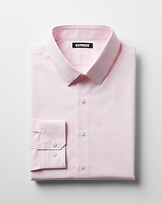 Express Mens Extra Slim Check Cotton Point Collar Dress Shirt