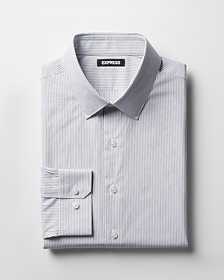 Express Mens Extra Slim Fit Striped Cotton Point Collar Dress Shirt