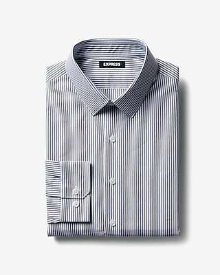 Express Mens Classic Striped Cotton Point Collar Dress Shirt
