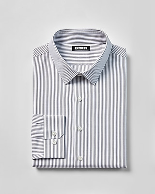 Express Mens Classic Fit Striped Cotton Point Collar Dress Shirt