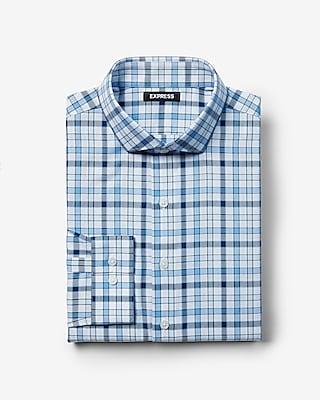Express Mens Extra Slim Plaid Cotton Shirt