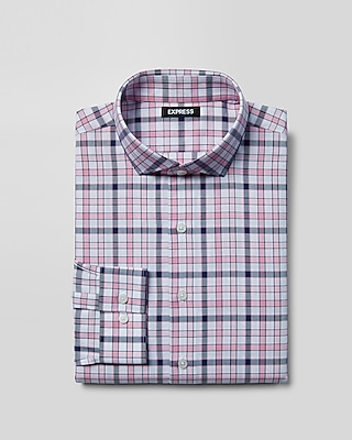 Etounes express mens dress shirts modern fit bar plaid for Mens xxl tall dress shirts