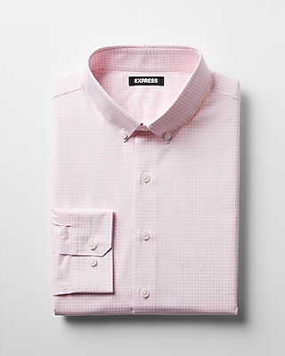 Express Mens Slim Check Pattern Button-Down Cotton Dress Shirt
