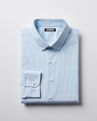 Express Mens Slim Striped Button-Collar Dress Shirt