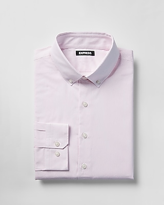 Express Mens Extra Slim Striped Cotton Button-Down Dress Shirt