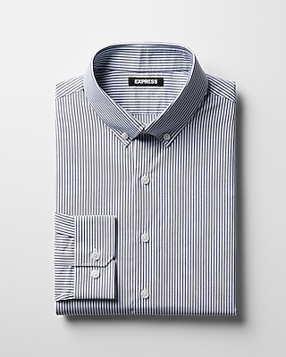 Express Mens Classic Striped Button-Collar Dress Shirt