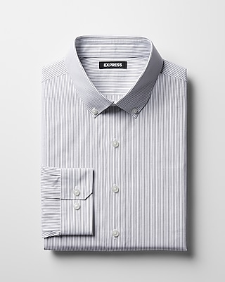 Express Mens Classic Striped Cotton Button-Down Dress Shirt