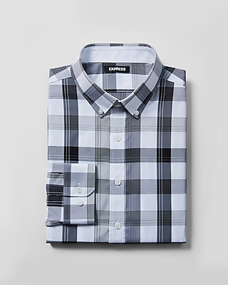 Express Mens Extra Slim Plaid Performance Shirt