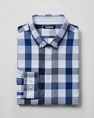 Express Mens Classic Fit Plaid Performance Shirt