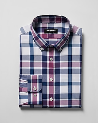 Express Mens Classic Plaid Performance Dress Shirt Pink Large 13925673