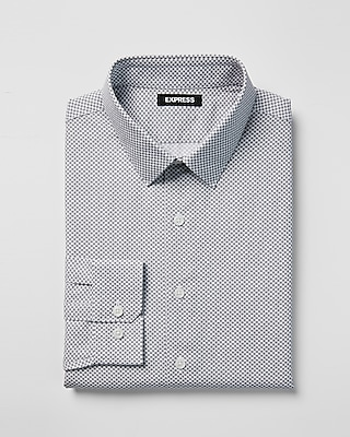 Express Mens Slim Micro Print Point Collar Dress Shirt