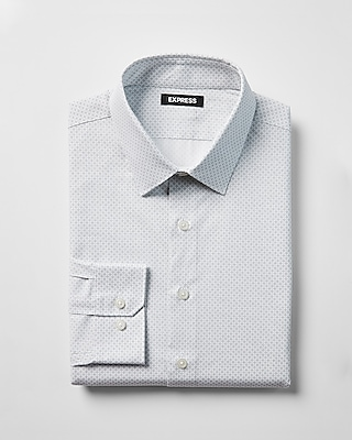 Express Mens Modern Fit Micro Dot Print Cotton Dress Shirt