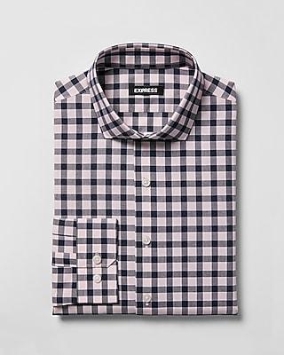 Express Mens Slim Plaid Spread Collar Dress Shirt
