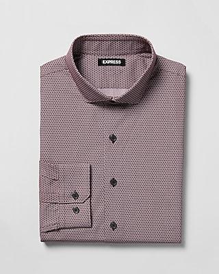 Express Mens Slim Geometric Print Spread Collar Dress Shirt