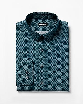 Express Mens Extra Slim Geometric Print Dress Shirt