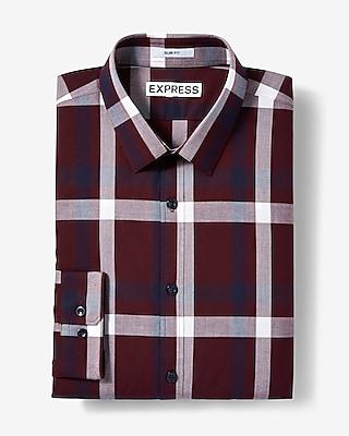 Express Mens Extra Slim Fit Plaid Long Sleeve Cotton Dress Shirt
