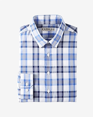 Express Mens Slim Fit Plaid Performance Dress Shirt