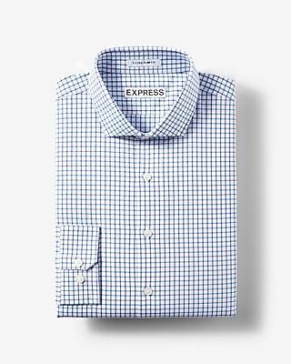 Express Mens Slim Fit Small Check Dress Shirt Blue X Small