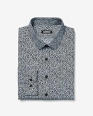 Express Mens Extra Slim Micro Print Dress Shirt