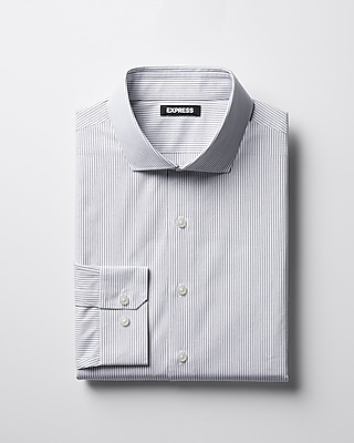 Express Mens Extra Slim Striped Spread Collar Shirt