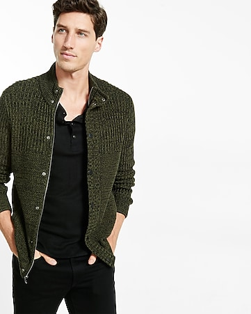 textured mock neck cardigan