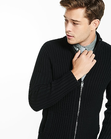 ribbed full zip mock neck sweater
