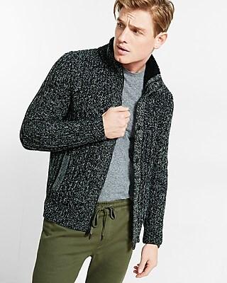 Express Mens Sherpa Lined Mock Neck Fleece Sweater
