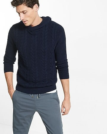 cable knit hooded sweater