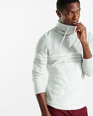 Express Mens Marled Color Blocked Funnel Neck Sweater Gray XX Large