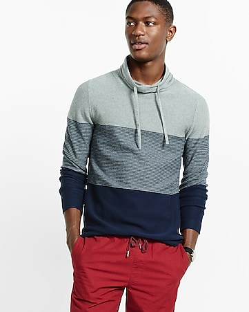 color blocked funnel neck sweater