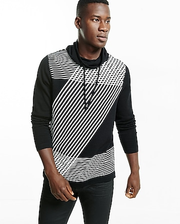 funnel neck graphic sweater
