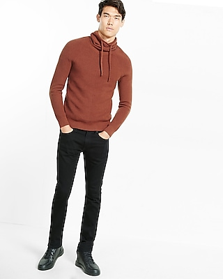 Express Mens Ribbed Funnel Neck Sweater Brown Small